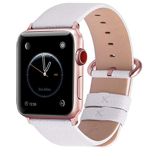 Fullmosa Compatible Apple Watch Band 38mm 40mm 42mm 44mm Leather Compatible iWatch Band/Strap Compatible Apple Watch SE & Series 6 5 4 3 2 1, 38mm 40mm White + Rose Pink Buckle