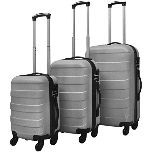 vidaXL 3X Reisekoffer Silber Trolley Hartschalenkoffer Kofferset Reise Urlaub