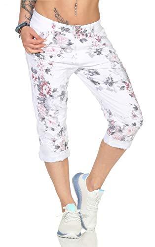 Label by Trendstylez Capri-Jeans mit Blumen-Prints weiß PC6372 Größe 40