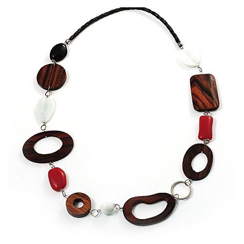 Avalaya - Collana in similpelle, con elementi geometrici piatti di legno e metallo color argento (marrone scuro, corallo rosso, nero e bianco).