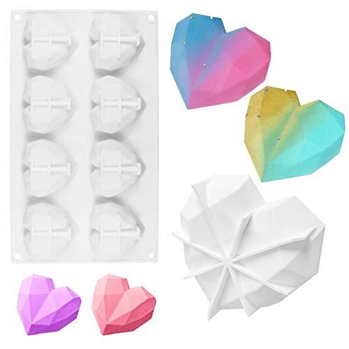 Juego de 2 moldes de silicona de diamante para pastel molde de pastel de silicona con forma de corazón de 8 cavidades molde de pastel de mousse corazón de diamante grande molde de postre antiadherente