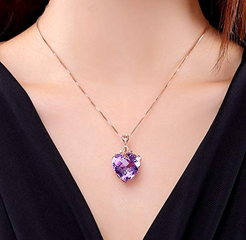 Goldenchen Fashion Jewelry 18k Rose Gold Infinity Love Heart Pendant Necklace Made with Crystals Amethyst Birthstone Jewelry Gifts for Women Girls