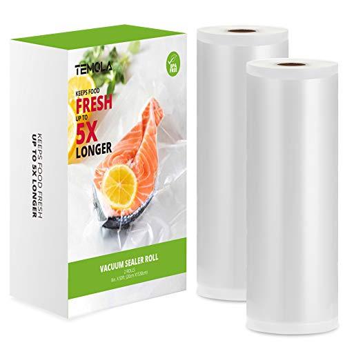 TEMOLA - Rollos de vacío para alimentos, 2 rollos, 20 x 1530 cm, rollo de envasado al vacío para conservar los alimentos, sin BPA, para máquina al vacío y ahorrar alimentos