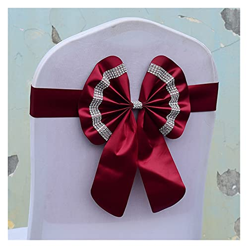 LAIQIAN Stuhlabdeckung Sash Bögen, Stuhlschärpen Set Blume Freie Befestigung Bowknot Feiern Einstellbare Geburtstag Bug Cover Wedding-Feiern Multi-Color (Color : Wine Red, Number of Pcs : 10 pcs)