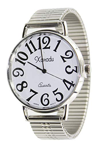 Unisex Super Large Face Stretch Band Easy To Read Watch-Silver Tone