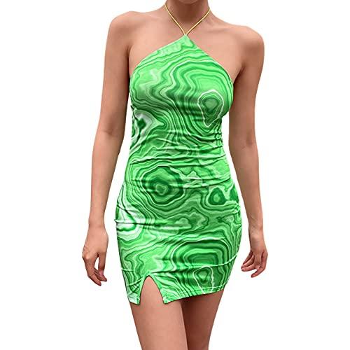 Sexy Halter cuello sin mangas vestido sin espalda Y2K impreso verano playa mini vestido E niña bodycon vestido de fiesta vestidos cortos
