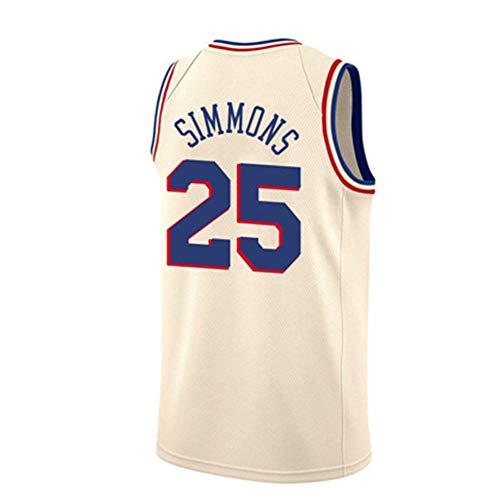LDFN Jersey Baloncesto Ben Simmons # 25 Philadelphia 76ers Camiseta De Baloncesto De Los Hombres, Tejido Transpirable Y De Secado Rápido, Deportes Bordados Camiseta Sin Mangas S-XXL