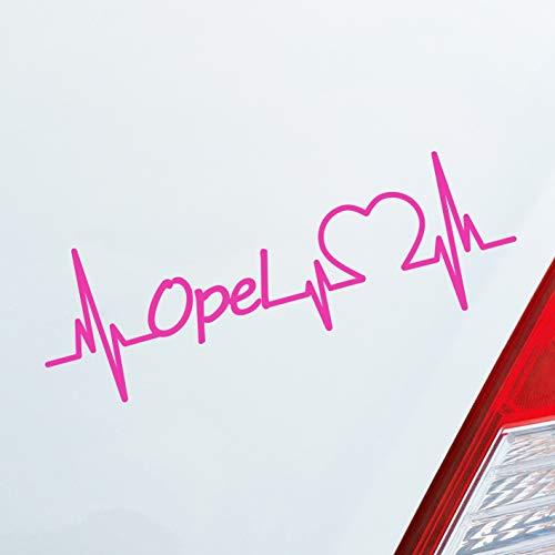 Auto Aufkleber in deiner Wunschfarbe Opel Herz Puls Automarke Marke Car Sticker Liebe Love ca. 19 x 6 cm Autoaufkleber Sticker