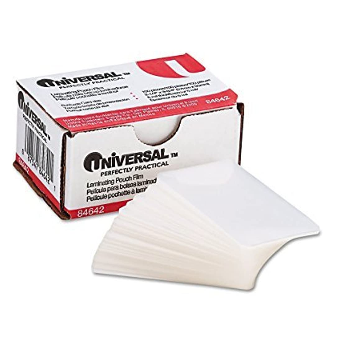 Universal UNV84642 100 per Box Clear Laminating Pouches, 2 1/4-Inch x 3 3/4-Inch - Pack-4