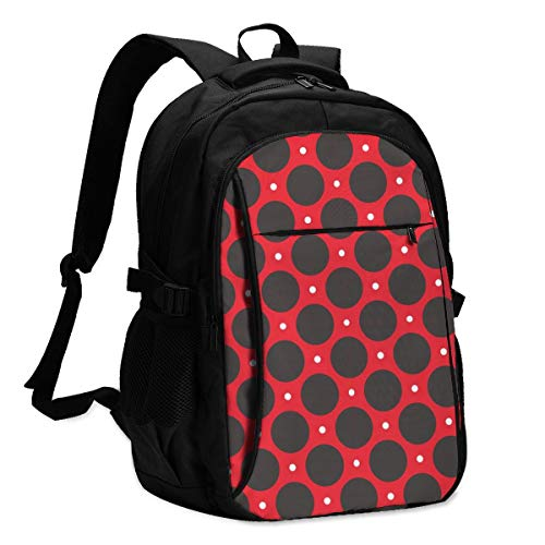 Polka Dot Pattern Theft Proof Travel Backpack Funny Laptop Backpack With Usb Charging Port