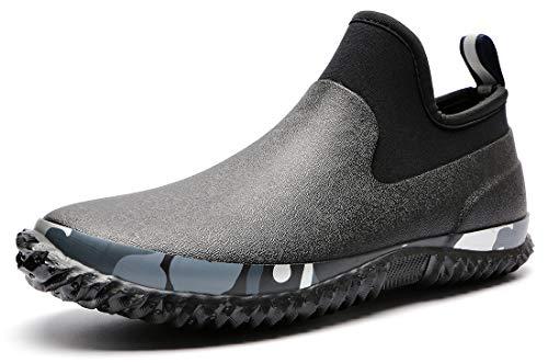 TENGTA Unisex Waterproof Garden Shoes Womens Rain Boots Mens Car Wash Footwear Black 10.5