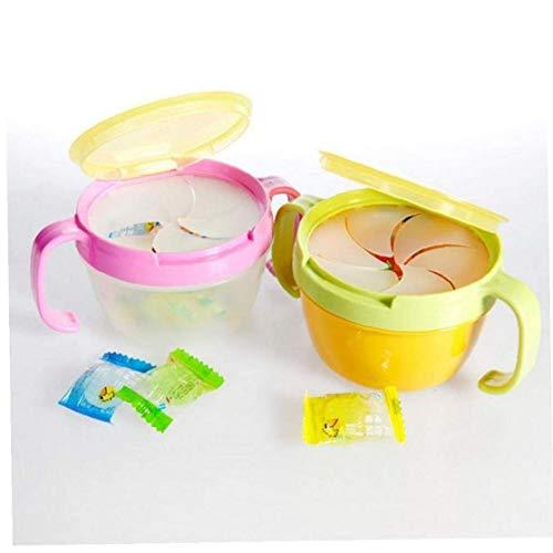 AYRSJCL 1Pc Color al Azar del bebé Galletas Niño pequeño tazón de Fuente Doble El Mango Snack-Copa Caramelo Snack-Box Infantil Comestible vajilla Seguridad