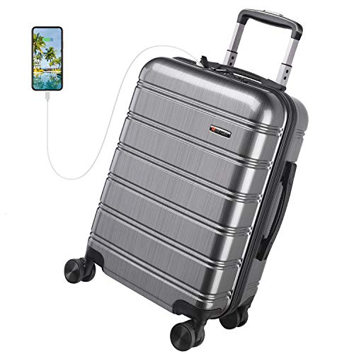 REYLEO Travel Suitcase 20in PC+ABS with USB Charging Port, Built-in TSA Lock, 4 Silent Spinner Wheels and Side Handle Carry on Luggage (Grey)