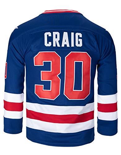 21 Mike Eruzione 1980 Miracle On Ice USA Team Hockey 17 Jack O'Callahan 30 Jim Craig Ice Hockey Jerseys (30 Blue, Small)