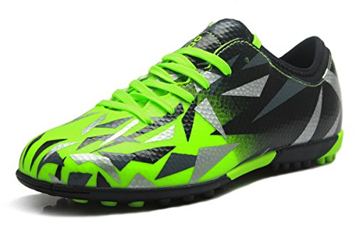 T&B Turf Soccer Shoes Kids Football Trainers Firm Ground Light Green Black No.76516-Lv-32-1.5US