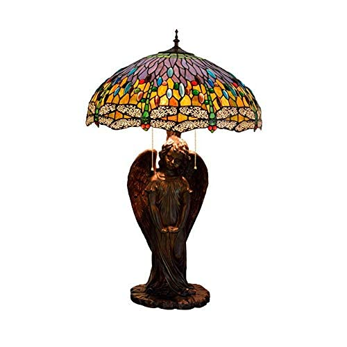 MISLD Table Lamps, Tiffany Style Table Lamp With Blue Dragonfly For Basic Angel Girl Glass Lamp, Retro Decoration