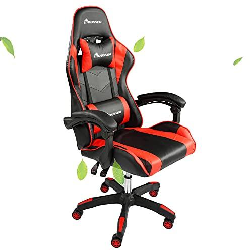 Gaming Stuhl für Erwachsene und Kinder, Computer Drehstuhl mit Kopfstütze, PC-Computer-Gamer-Stuhl mit Verstellbarer Höhe und Neigung, Racing Bürostil Video Gaming Stuhl Rot+Schwarz