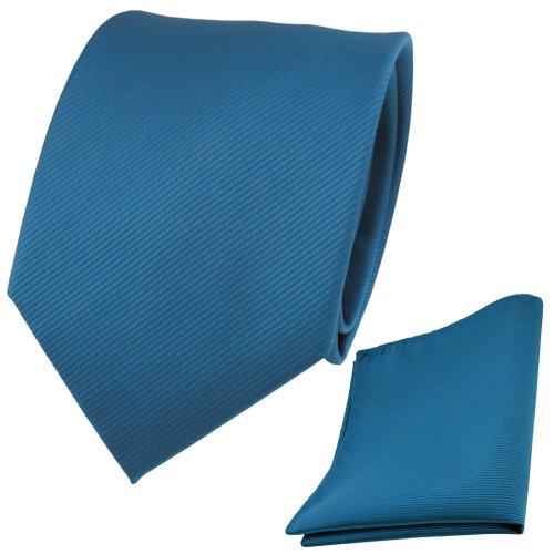 TigerTie TigerTie Designer Krawatte + Einstecktuch türkis wasserblau türkisblau Uni Rips - Binder Tuch