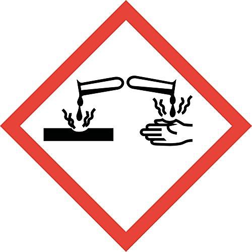 easydruck24de Gefahrstoffaufkleber GHS05: ätzend, hin_154, 10x10cm, Gefahrstoffsymbol, GHS-Kennzeichnung, Achtung, Warnung, Vorsicht, Hinweis
