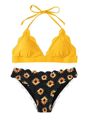 SweatyRocks Women's Sexy Bathing Suits Scallop Halter Bikini Top Floral Print Two Piece Swimsuits Yellow Floral Small