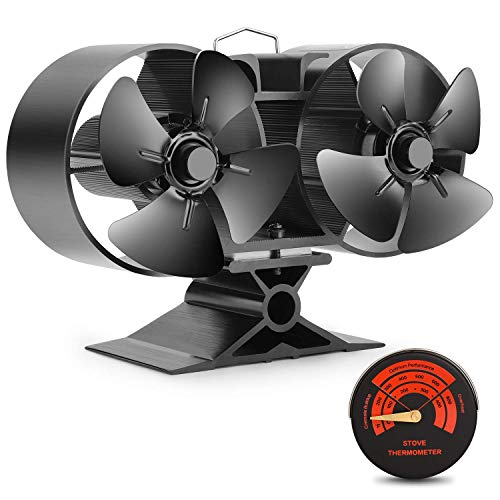 Mini Size 8 Blade Stove Fan -Silent, Heat Powered Wood/Log Burner Fan for Ultra Small Space- 30% Larger Than 4 Blades