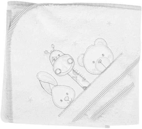 NOSBEBES® Sortie de bain brodé, peignoir, ensemble bebe Cape avec gant, 100% COTON idee cadeau naissance bébé Serviette à capuchon pour bébé, Serviette de Bain Bébé (BLANC GRIS GLO)