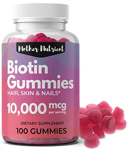 Biotin Gummies for Hair Growth. Maximum Strength 10,000 Micrograms per Serving, 100 Count, 50-Day Supply. Hair Skin and Nails Vitamins for Women and Men. Vegan/Vegetarian, Gluten Free. Strawberry