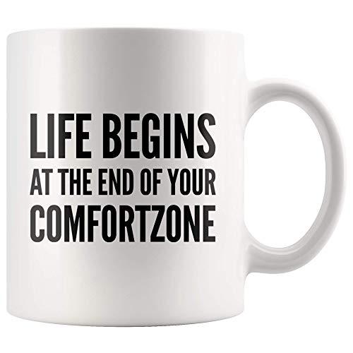 Taza té cerámica uso prolongado La vida inspiradora comienza al final de su zona de confort Graduación de emprendedora de Lady Boss Taza bebida café Regalo