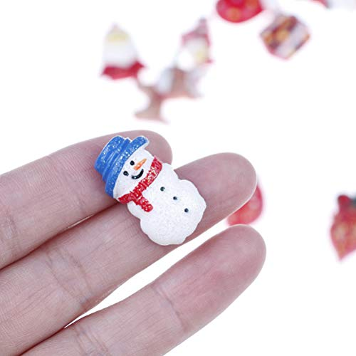 OBANGONG 50 Pcs Mix Christmas Tree Snow Resin Flatback Button Art Album Flatback Embellishments DIY Decoration Scrapbooking Craft,Style Random