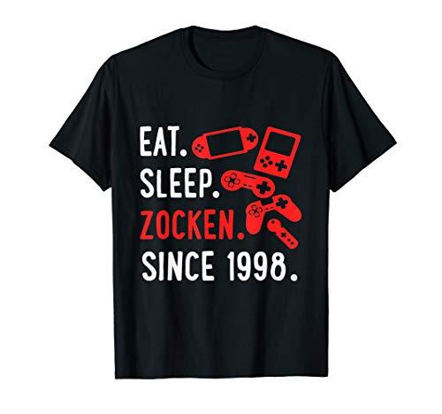 Gamer Geschenk zum 22 Geburtstag EAT SLEEP Game seit 1998 T-Shirt