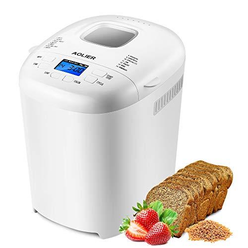 aolier Brotbackautomat - 14 Programme, 700-900 g Brotgrößen, Einstellbarer Bräunungsgrad in 3 Stufen, 13 Stunden Timing-Funktion mit Spezialprogrammen für Brot, Nudelteig und Marmeladen