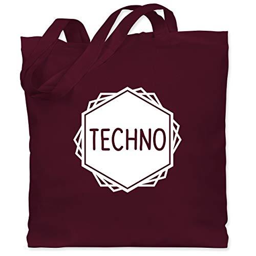 Shirtracer Festival - Techno Festival Motiv - Unisize - Bordeauxrot - Geschenk - WM101 - Stoffbeutel aus Baumwolle Jutebeutel lange Henkel