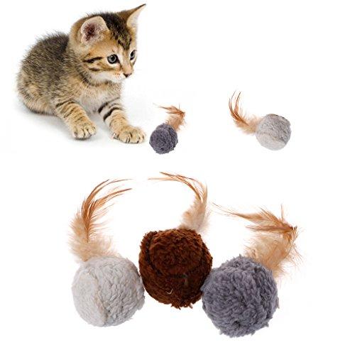 Yanhonin Katzenspielzeug, 3 Stück, Plüschkugeln, für Hunde, Katzen, Kauspielzeug