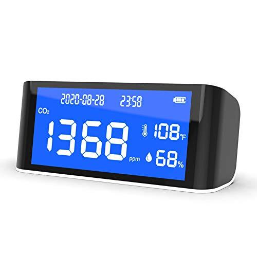 CO2 Messgerät Raumluft KKmoon CO2 Melder 400~5000ppm mit Alarm CO2-Temperatur-Feuchtigkeits-Detektor Luftqualität Messgerät Desktop Indoor Outdoor Hohe Präzision