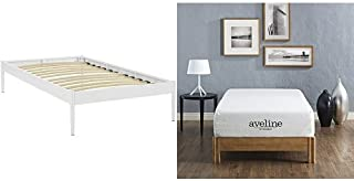 Modway Elsie Twin Fabric Bed Frame in White with Modway Aveline 10