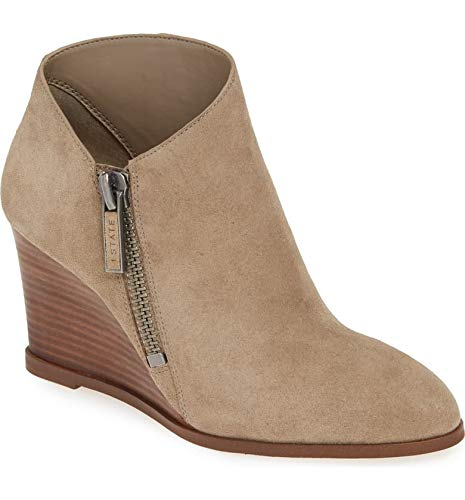 1. State Kaleb Wedge Ankle Bootie Pebble Taupe Suede Mid Wedge Designer Boot (8.5, Pebble)
