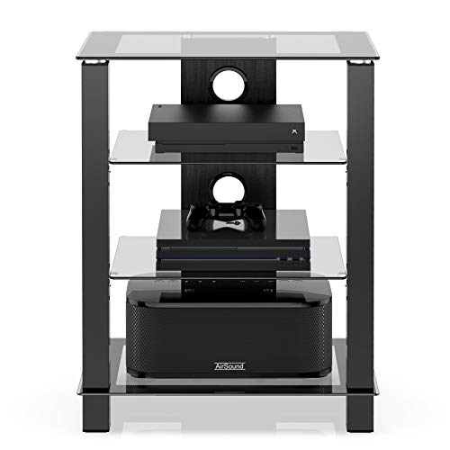 FITUEYES TV Rack HiFi Regal Audio Schrank Glas und Alu Höhenverstellbares Regal AS406003GB
