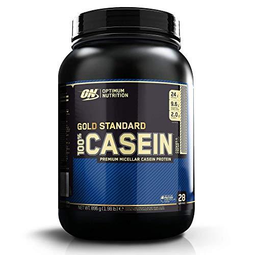 Optimum Nutrition ON 100% Gold Standard Casein, Proteínas en Polvo con BCAA Aminoacidos Ramificados y Esenciales, para recuperación, bajo en Azúcar, Galletas y Crema, 28 porciones, 0.9 kg