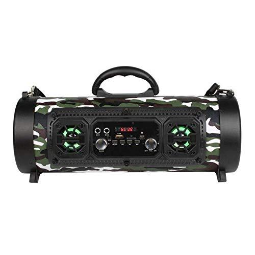 CE-LXYYD CH-M17 Tambor Barril LED Intermitente Altavoz Bluetooth, Subwoofer de Coche con Altavoz de Radio Cassette,Camouflage