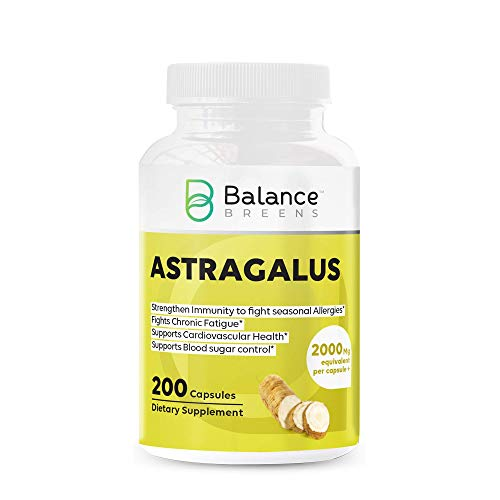 Balance Breens Astragalus Root Health Supplement – Supports Cardiovascular Health and Healthy Immune Functions – 2000 mg Equivalent per Capsule 200 Count