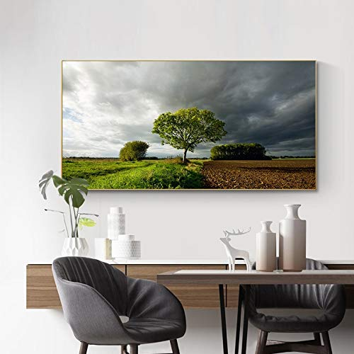 UIOLK Field tree landscape wall art mountain canvas posters and prints modern wall art pictures for living room decoration