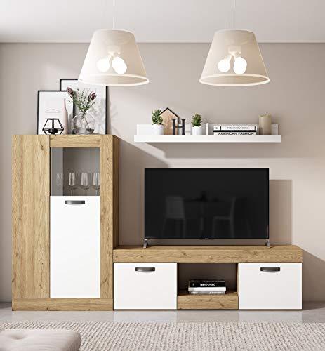 Miroytengo Pack Muebles Argos salón Blanco Mate y Naturale Comedor Estilo Moderno (Mesa TV + Estante + Vitrina Baja)