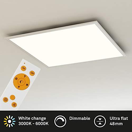Briloner Leuchten 7195-016 Deckenleuchte-Panel, dimmbar, Farbsteuerung, Fernbedienung, 36W, 3800 lm, LED-Lampe, Wohnzimmerlampe, Deckenlampe, weiß, 59.5 cm, 36 W