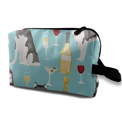 Travel Makeup Storage Bag- Portable Toiletry Handbag Small Cosmetic Organizer Pouch for Women & Men- Alaskan Malamute Wine
