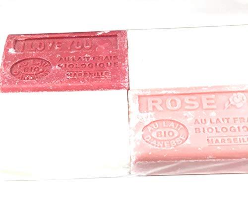Lot de 4 savons BIO au lait d'anesse. 4x125g - Parfums Chèvrefeuille, Naturel, Rose et I love you