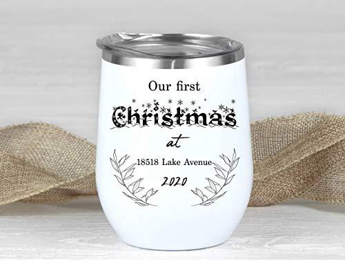 Vaso de vino personalizado de acero inoxidable con aislamiento para familia, regalo de dirección personalizado, taza de viaje para la primera Navidad, para parejas, vino de viaje