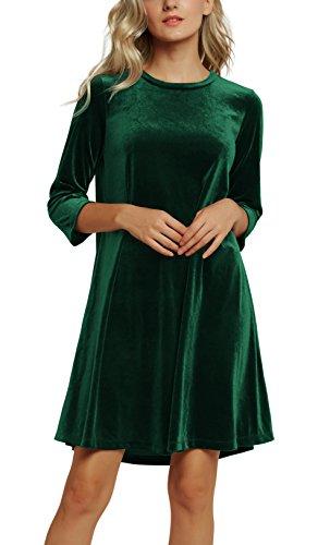 Urban CoCo Women#039s Velvet Party Dress 3/4 Sleeve Cocktail Dress XL 2 Dark Green