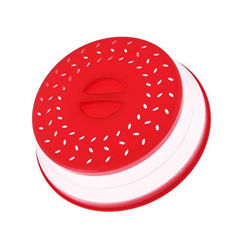 SunflowerU - Tapa para colador de alimentos, antisalpicaduras, frutas, verduras, cubierta plegable para microondas, salpicaduras, escurridor, cesta de conservación fresca (rojo)