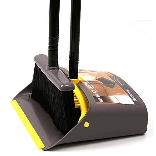 TreeLen Dust Pan and Broom/Dustpan Cleans Broom Combo with 40'/52' Long Handle for Home Kitchen Room Office Lobby Floor Use Upright Stand up Dustpan Broom Set