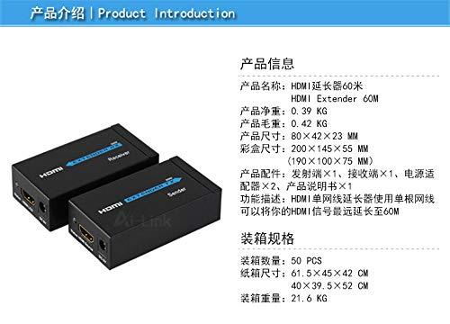Diamoen 60M HD Extender 1080p 3D HD 1080p 3D HD transmitter Transmitter Receiver Cat 5e/6 RJ45 Ethernet Converter, UK Plug